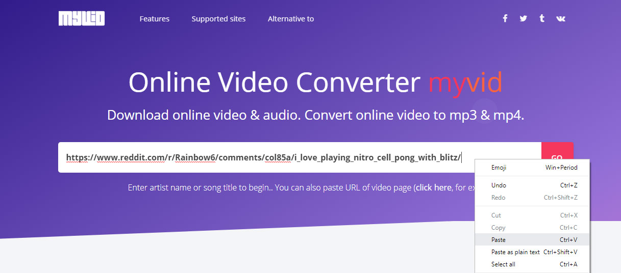 paste video link into Myvid search box
